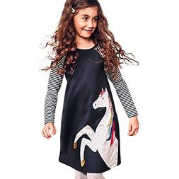 Iuhan 1-6Years Girls Dress, Toddler Baby Clothes Horse Strip