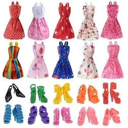 10 Pack Barbie Doll Clothes Outfits Party Gown with 10 Pairs