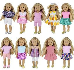 ZITA ELEMENT 10 Sets Clothes for American 18 Inch Girl Doll