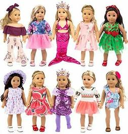 10-Sets Fashion Doll Clothes and Accessories with Popular El