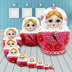 10 Wood Russian Matryoshka Nesting Dolls Hand Paint Gift Roo