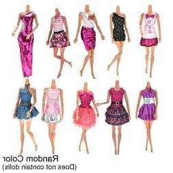 10Pcs Dresses For Barbie Doll Party Girl Dresses Clothes Gow