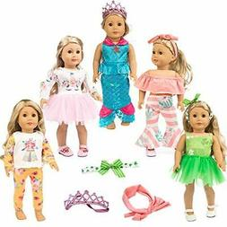 ZITA ELEMENT 11 Pcs Clothes Outfits for American 18 inch Gir