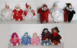 JOINER 11 Porcelain Clown Dolls 6 - 4.5 Inches with Funny Cl