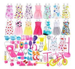 114PCS Barbie Doll Clothes Party Gown Shoes Bag Necklace Mir