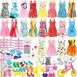133 Pcs Doll Clothes Party Dress Shoes Bags Necklace Toy Acc