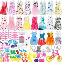 135 Pcs For Barbie Doll Clothes Party Gown Outfits Shoes Bag
