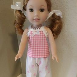 14 inch DOLL CLOTHES ~ 2 PIECE Pink Bow  PAJAMAS SET ~ Pink