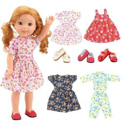 BARWA 14 inch Doll Clothes 4 Dress 3 Pair of Shoes Accessori