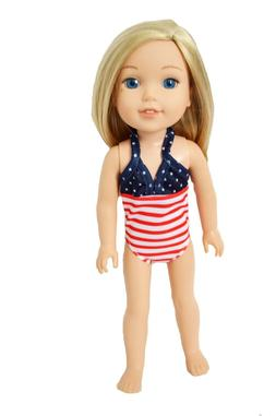 14 Inch Doll Clothes All American Swimsuit for Wellie Wisher