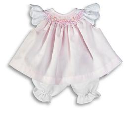"""For 15"""" Baby Doll Clothes Pink Smocked Dress Eyelet Angel Sl"""