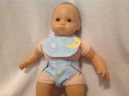 "15"" doll cloth diaper bib set sheep moon stars girl/boy clot"
