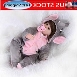 16'' Reborn Baby Girl Dolls Newborn Vinyl Silicone Cloth Bod