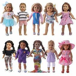 ZWSISU 17 pcs Girl Doll Clothes Dress Gift for American 18-i