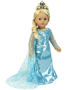 18 Inch Doll Dress Gown Includes Cape & Crown to fit America