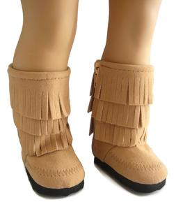 "For 18"" American Girl Doll Clothes Beige Moccasin Boots Frin"