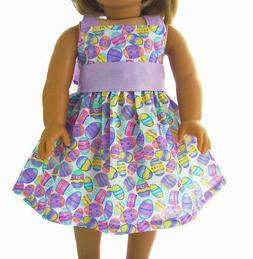 "For 18"" American Girl Doll Clothes Easter Egg Lavender Dress"