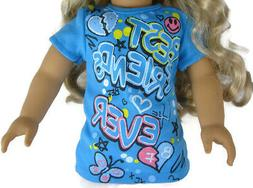 "For 18"" American Girl Doll Clothes Exclusive Blue BFF T-Shir"
