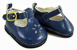 "For 18"" American Girl Doll Clothes Navy Blue T-Strap Shoes A"
