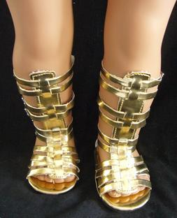 "For 18"" American Girl METALLIC GOLD GLADIATOR SANDALS Doll C"
