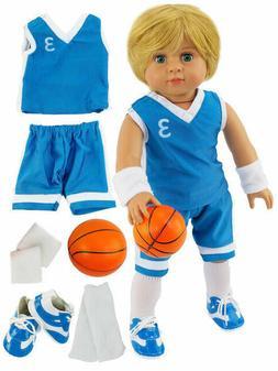 "18"" doll clothes 6 piece teal blue basketball set"