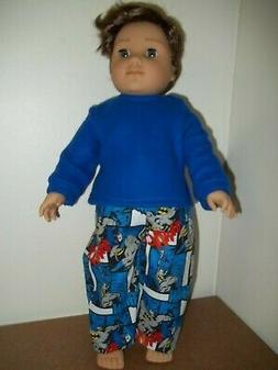 "18"" Doll Clothes Batman print  PAJAMAS  fits AMERICAN GIRL B"