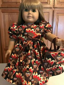"18"" Doll Clothes Dress & Tote Bag Turkey   Turkey's  Fall Th"