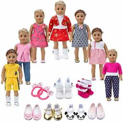 "18""Doll Clothes Lot 11 Pc Set Outfits Shoes American Girl Do"