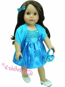 "18"" DOLL CLOTHES-TURQUOISE  SATIN  DRESS fits American Girl"