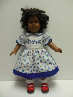 "American Girl 18"" Doll Dress-Blue Flowers Dress-Sweet Appliq"
