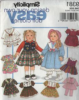 "18"" Girl DOLL CLOTHES American Sewing Pattern Simplicity 938"
