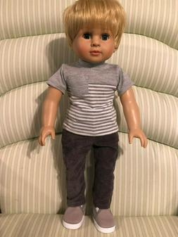18 in American Fashion World Caden doll dressed in shirt pan