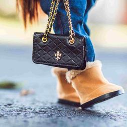 18 In Doll DESIGNER BLACK SHOULDER BAG Fits American Girl Cl