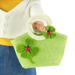 18-inch Doll Accessories | Doll-Sized Woven Green and Cream