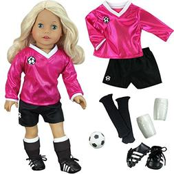 18 inch Doll Clothes Outfit, Fuchsia Doll Soccer Outfit 6 Pc