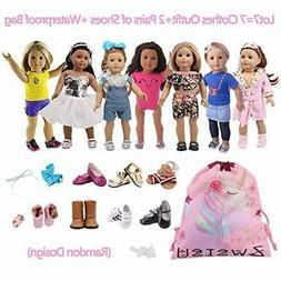 ZWSISU 18 inch Doll Clothes Gift Girls - Include 7 Set Toys
