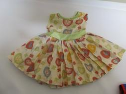 18 inch Doll Fancy Dress ARIANNA Pleated Yellow With birds a