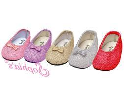 18 Inch Doll Glitter Dress Shoes - Fits American Girl Dolls
