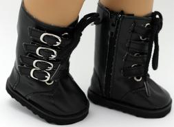 18 inch Girl Doll Clothes Shoes Black Calf High Boots Buckle