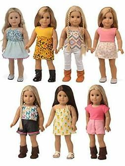 sweet dolly 18 Inches Doll Clothes, 7 Outfits Mixed Matching