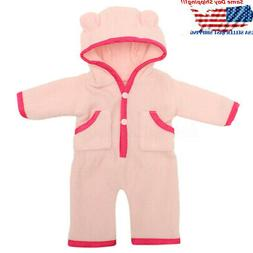 18'' Pink Hooded Nightwear Doll Clothes Newborn Baby Girl Do