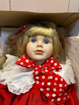 1991 Brinn's Porcelain Dolls Kate Red Dress with Purse New i