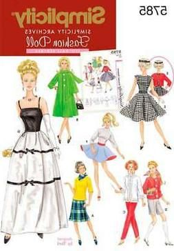 SIMPLICITY 11 1/2 FASHION DOLL CLOTHES-ONE SIZE