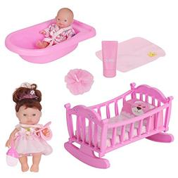 Huang Cheng Toys 2 Baby Dolls with Accessories Clothes Bed P