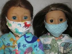 "2 Face Masks for 18"" Doll Clothes American Girl Dots & Rainb"