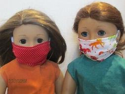 "2 Face Masks for 18"" Doll Clothes American Girl Red Dots & R"