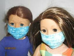 """2 Face Masks for 18"""" Doll Clothes American Girl, Turquoise F"""