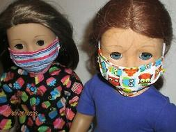 2 face masks for 18 doll clothes
