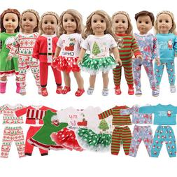 LUCKDOLL 2 Pcs Christmas Designs Nightgowns 18Inch American