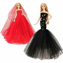 BARWA 2 Pcs Doll Dress Red Gown Dress with Hat and Blue
